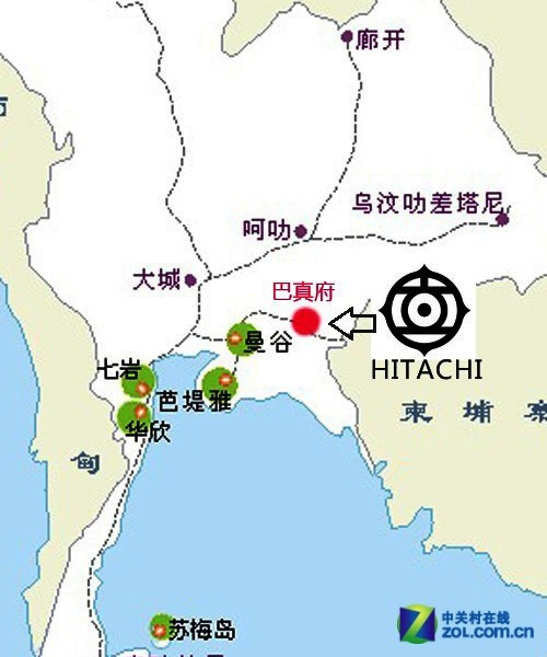 科技 正文     1,日立(泰国)生产中心分布图   日立在泰国建设有一座