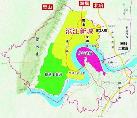 江津滨江新城区位图 高清图片