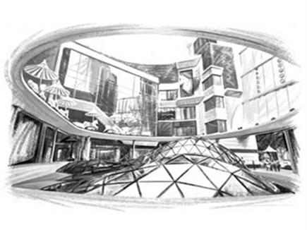 商场大厅手绘线稿